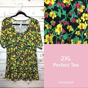 LuLaRoe Tops - Lularoe Perfect T tunic shirt pink floral top 2XL